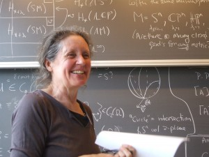 Nancy Hingston at the University of Copenhagen Workshop on String Topology and Related Topics. Photo courtesy of Anssi Lahtinen.